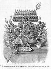 INDE INDIA HINDUSTAN IDOLES RAVANA GRAVURE IMAGE 1884