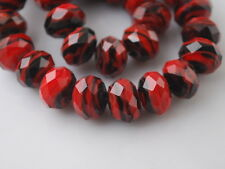 10pcs Red/Black Glass Stripe Lampwork Beads Spacer Craft Jewelry Findings 12mm
