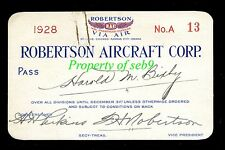 1928 FRANK ROBERTSON AIRCRAFT CORP Signed PASS to H.M. BIXBY~LINDBERGH FINANCIER