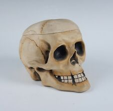 Superb Antique 19c German Porcelain Figural Human Skull Box