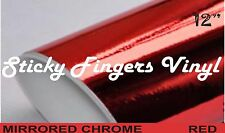 """5 ft Roll RED MIRRORED Chrome ADHESIVE Outdoor Vinyl 12"""" SIGNS Crafts DECALS"""