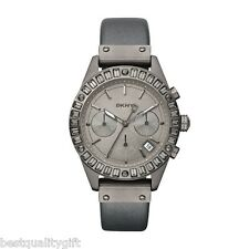 NEW-DKNY GUNMETAL,PEWTER LEATHER BAND+CRYSTAL CHRONO DIAL+DATE WATCH-NY8653+BOX