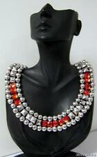 STATEMENT CHUNKY STUDDED CRYSTAL RED SILVER GRECIAN EGYPTIAN DECO NECKLACE