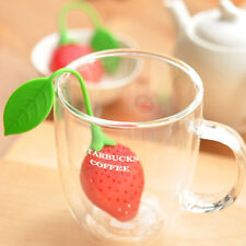 New Practical Strawberry Silicone Plastic Tea Leaf Strainer Loose Infuser Filter