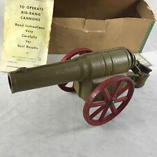 "Vtg Big Bang Cannon Toy 8"" with Iron Wheels Instructions Spark Plug Original Box"