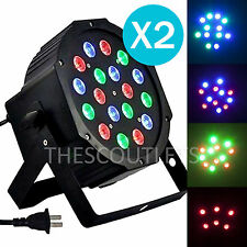 2PCS 18W 6 Channel RGB Led Flat Par Light DMX-512 For DJ Stage Party Club Bar