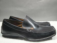 MENS 8.5 STEVE MADDEN NOVO BLACK LEATHER MOC MOCCASIN COMFORT DRIVING LOAFER