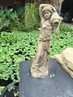 Tall Lady With Vase GRAY CEMENT STATUE CONCRETE Lawn Ornament Decoration