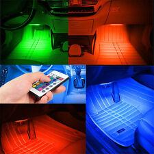 4X9LED Remote Control RGB Car Interior Floor Footwell  Decorative Lights Strip