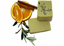 3 bars Of Greek Organic Handmade Soap Olive Oil Orange & Cinnamon Scented
