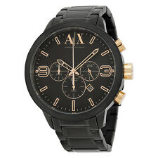 Armani Exchange Atlc Chronograph Black Dial Black Ion-plated Mens Watch AX1350