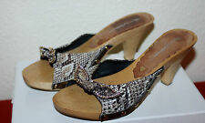 GORGEOUS BEVERLEY FELDMAN UK 5 EU 38 7W DIAMANTE & STUDDED WOODEN MULES MID HEEL