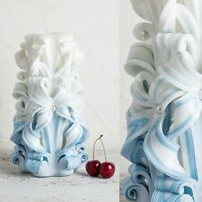 Big White and Blue - Gentle colors - Wedding groom carved candle - EveCandles