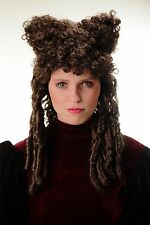 Wig Halloween Carnival Gothic Baroque Countess Witch Beehive brown Curls Horns