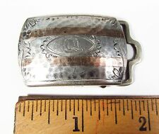 Antique Art Deco Schreiber Hammered Sterling Silver & Gold Initial Q Belt Buckle