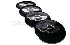 4x 50mm MINI Car Wheel Center Caps Metal Curve Badge Sticker Logo Wings