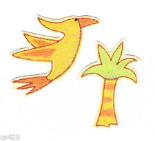 "1.5"" LAMBS & IVY LIL DINO DINOSAUR BIRD PALM TREE FABRIC APPLIQUE IRON ON"