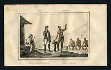 NETTOYAGE DES DIAMANTS gravure estampe ancienne originale aquarellee de 1838