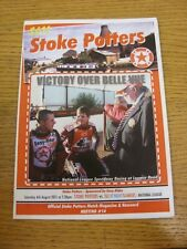 06/08/2011 Speedway Programme: Stoke Potters v Isle Of Wight Islanders (results