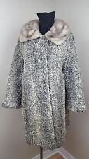 GENUINE GRAY PERSIAN LAMB ASTHRAKAN Women's Coat with Gray Mink Collar S/M