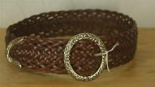 BRIGHTON Braided Brown Leather Belt Metal Scroll Buckle Size Small