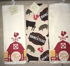 Rooster Farm Fresh Lot Of 3 SONOMA Kitchen Towels Homestead Pigs Cow $24 Ret NWT