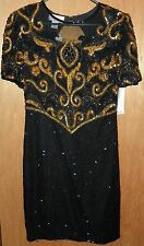 Womens Laurence Kazar Black Gold Beaded Sequin Cocktail Dress Size Medium NWT