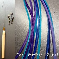 Feathers Hair Extensions Kit Lot 10 long skinny XL blue Purple COOLS SOLID KIT