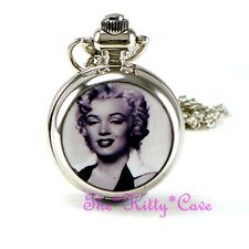Miniature Argent Marilyn Monroe Poche Demi Chasseur Collier Steampunk Fob Watch