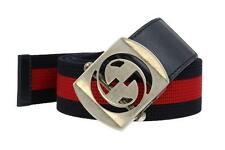 NEW GUCCI CANVAS LEATHER CUT OUT G BUCKLE WEB DETAIL BELT 85/34  387032 H1FIN