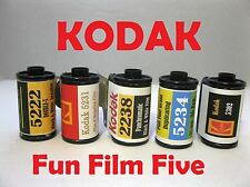 Kodak Fun Film Five Pack 5222, 5231, 2238, 5234, 5302, Black & White 35mm x 36