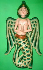 "Sita Dewi Rice Goddess Flying Hanging Lady Wood Carving Large 15"" Bright Green"