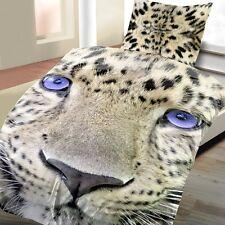 2 tlg Bettwäsche Leopard 135 x 200 cm beige Microfaser Garnitur Premiumdruck