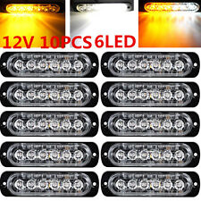10x Amber/White 6 LED Emergency Hazard Warning Flash Strobe Beacon Caution Light