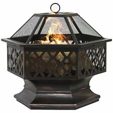 New Outdoor Wood Burning Fire Pit Deep Bowl Fireplace Heater Patio Deck Portable