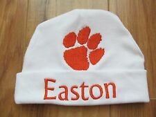 PERSONALIZED MONOGRAM CUSTOM Baby Beanie Hat Cap Clemson University Tigers Paw