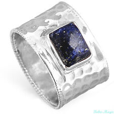 Sterling Silver 925 Ring Solid Lapis Gemstone Genuine Handmade Wide Band Size