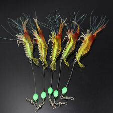 5 Noctilucent Silicone Simulation Soft Prawn Shrimp Fishing Bream Lure Hook Bait