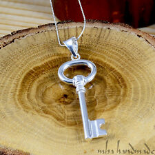 "Authentic 925 Sterling Silver Charm Key Pendant with 18"" Chain Unisex Necklace"