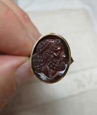 Intaglio 10K Ring NeoClassical Hardstone Mercury Apollo Belle Epoque Victorian