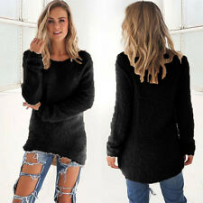 Womens Long Sleeve Velvet Warm Sweater Casual Pullover Baggy Fluffy Jumper Tops