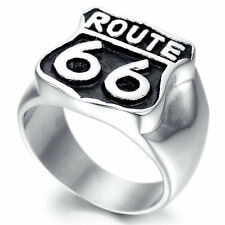 Fashion Mens 18k Gold Plated Ring Route 66 Motorcycle Biker Punk Ring Band