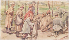 """War Prisoners (WWI)"", Austrian Watercolor, ca.1915"