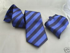 "(012) 100% SILK-Black with Blue Stripes-Necktie & Hankie Set-TIES-3.5""=9cm Width"
