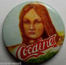COCAINE Vintage 70`/80`s 37mm Button Pin Badge CC.105