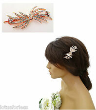 Art Deco Style Rose Gold Tone Hair Slides Grips with Diamante