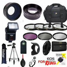CANON EOS REBEL T7I HD KIT TRIPOD FLASH ZOOM LENS & WIDE LENS + FILTERS + REMOTE