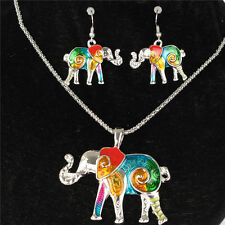 Silver Elephant Necklace Earrrings Chain Jewelry Sets Birthday Party Friend Gift