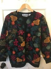 Signature by Northern Isles Hand Knitted Wool Cardigan Fruit And Flowers Size M