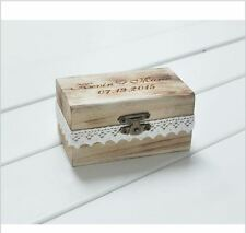 Personalized Gift Rustic Wedding Ring Bearer Box Custom Names Date Engrave Wood